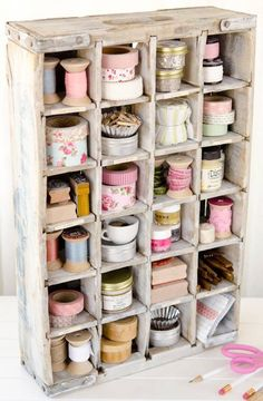 DIY vintage crate to organize tapes & ribbon Scrapbook Expo