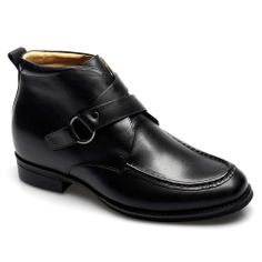 Black Calfskin Leather men dress boot elevators shoes; Model :011H011; Height : 7cm (2.76 inch).