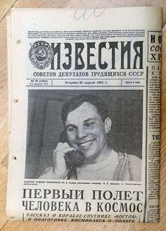 Soviet Newspaper PRAVDA , 1961 , Gagrin Vostok-1 Flight