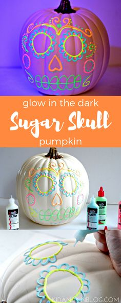 DIY Glowing Sugar Skull Pumpkin Craft for Halloween or Day of the Dead!