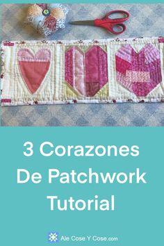3 Corazones De Patchwork Pink Fabric, Cotton Fabric, Tutorial Patchwork, Patchwork Heart, Quilt Material, Back Pieces, Quilting Tutorials, Hand Quilting, White Fabrics