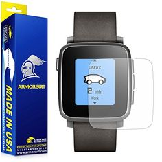 ArmorSuit MilitaryShield  Pebble Time Steel Screen Protector Full Coverage Matte 2 Pack AntiGlare AntiFingerprint AntiBubble Shield w Lifetime Replacements >>> Click on the image for additional details.
