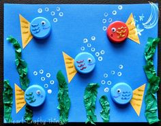 Bottle Cap Fish Use old bottle caps or milk caps to make an adorable ocean scene. Its a fun way to create using materials that might otherwise be thrown away. The post Bottle Cap Fish was featured on Fun Family Crafts. Kids Crafts, Animal Crafts For Kids, Family Crafts, Summer Crafts, Projects For Kids, Art For Kids, Craft Projects, Arts And Crafts, Sea Animal Crafts