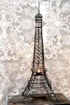 Eiffel Tower Paris France 20 Black Metal Wire Statue