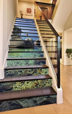 Bule Ocean 23 Stair Risers Decoration Photo Mural Vinyl Decal Wallpaper US Stair Art, Stair Walls, Stair Risers, Stair Stickers, Photo Wall Stickers, Types Of Stairs, Castle Window, Decoration Photo, Marble Stairs