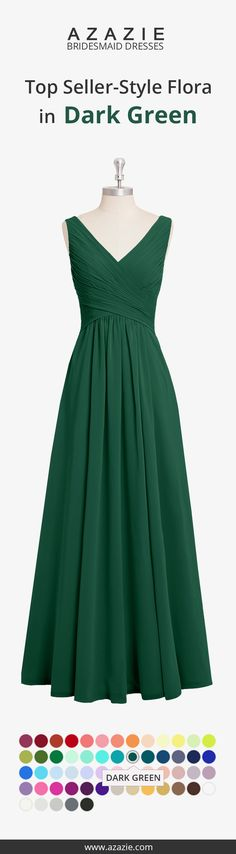 Flora is a romantic floor-length chiffon dress in an A-line cut. It features a v neckline with ruchings that hug and shape your body. Available in full size range (A0-A30) and custom sizing.