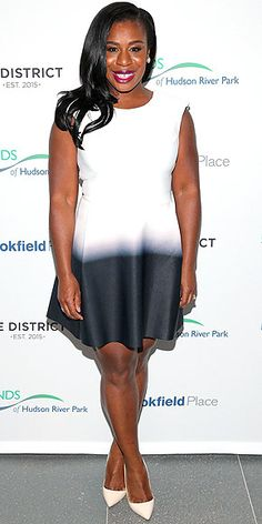 Last Night's Look: Love It or Leave It? Vote Now! | UZO ADUBA | wearing a dip-dyed white A-line mini with cream heels toFriends Of Hudson River Park's 2015 Spring Flingin N.Y.C.