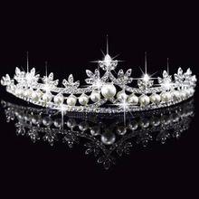 Nupcial do casamento Prom Princesa Strass Pérola HairBand De Cristal Tiara Coroa Do Casamento Véu Headband # Y51 # alishoppbrasil