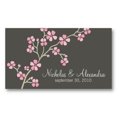 Cherry Blossom Wedding Business Card dark (pink) #businesscards #businesscarddesign