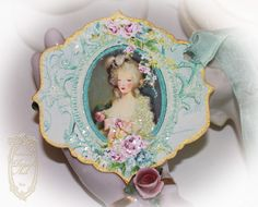 Marie Antoinette Musique of Enchantment die cut and gold-gilded hand painted tags.    www.PaperNosh.etsy.com