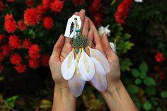 White feather earrings Dreamcatchers Boho wedding earrings