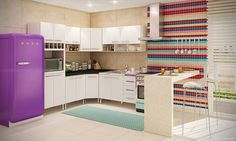 Cozinha Compacta Completa com 2 Banquetas Crema Ash/Branco/Preto - Caaza