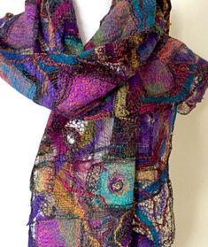 Lacework Scarf from the Textile Art Gallery of Michelle Mischkulnig © 2015 - Australian Textile Artist via ♥ Textile Fiber Art, Textile Artists, Textiles, Sewing Scarves, Nuno Felt Scarf, Felted Scarf, Thread Painting, Nuno Felting, Wool Felting