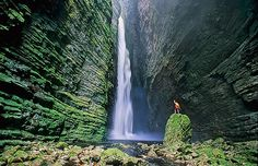 Fumaça Waterfall (The Chapada Diamantina National Park in Bahia, Brazil): This 4-hour trek (roundtrip) is very famous as it is about the highest free fall of Brazil (380 metres). Before reaching the ground, the water blows into a fine smoke-like mist. Trekkers will enjoy the panoramic view over the Valley of Capão, the biodiversity on top of the table mountain, and the breathtaking view over the canyon surrounding the Fumaça waterfall.