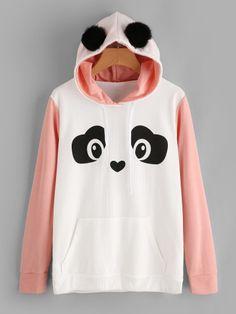 Shop Contrast Sleeve Panda Hoodie With Faux Fur Ball online. SheIn offers Contrast Sleeve Panda Hoodie With Faux Fur Ball & more to fit your fashionable needs. Cute Lazy Outfits, Edgy Outfits, Kawaii Sweater, Trendy Hoodies, Stylish Dress Designs, Kawaii Clothes, Women's Fashion Dresses, Romwe, Faux Fur