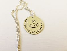 Chosen, loved, adopted necklace, hand stamped, personalized, adoption on Etsy, $25.00