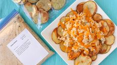 Our Potato Nachos are an addictive addition to any game day spread topped with jalapeño dotted shredded chicken and a blanket of gooey melted cheese. Freezer Friendly Meals, Budget Freezer Meals, Freezer Cooking, Freezer Recipes, Baked Chicken Spaghetti, Slow Cooker Recipes, Cooking Recipes, Healthy Recipes, Potato Nachos