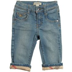 BURBERRY Stretch Denim Jeans - Blue ($115) ❤ liked on Polyvore featuring kids and blue
