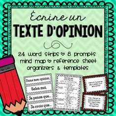 French Opinion Writing/Écrire un texte d'opinion by Mme McIntosh Opinion Writing, Persuasive Writing, Essay Writing, Writing Prompts, Writing Lessons, Transition Words And Phrases, Teaching French Immersion, French Flashcards, French Education