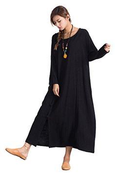 08718c188cd Sellse Womens Linen Cotton Loose Maxi Black Dress Plus Size Clothing      Click for Special Deals  SummerDresses