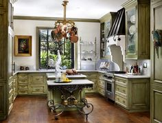 LOVE this distressed green w/gold  portfolio - traditional - kitchen - san francisco - Bernard Ande Photography