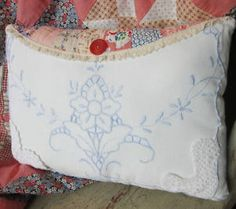 Vintage Linen Pillow - Lovely Cutwork and Embroidery - Country Chic Collectible