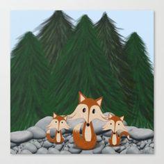 The Fox Family Canvas.   By One Artsy Momma