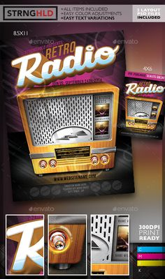 Retro Radio Event Flyer Template — Photoshop PSD #grunge #anchor man • Available here → https://graphicriver.net/item/retro-radio-event-flyer-template/10708112?ref=pxcr