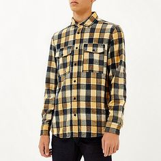 Yellow check two pocket flannel shirt - long sleeve shirts - shirts - men Flannel Shirt, Workout Shirts, Long Sleeve Shirts, Men Casual, Yellow, Mens Tops, Lovely Things, Clothes, Shopping
