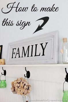 How to Make a Family Sign from an old cabinet door - full tutorial here at Domestically Speaking
