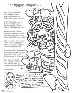 Tyger By William Blake Coloring Page Poem Languagearts Library Libraries Teachers