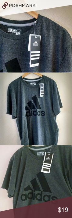 """Grey Adidas The Go - To Performance Tee New With Tags """"climate"""" shirt. 60%poly, 40%cotton. Length 30in, armpit to armpit 23.5in🔹No trades🔹 Bundle To Save!🔹 adidas Shirts Tees - Short Sleeve"""