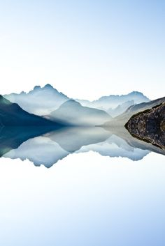 The Lake (Italy, Dolomites) - Mirror reflection in the alps in the morning