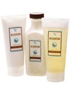 Alla våra härliga aromaterapiprodukter i en ask. Innehåller Relaxation Massage Lotion, Relaxation Shower Gel och Relaxation Bath Salts – alla i originalstorlek. Perfekt present till alla livsnjutare!  www.myaloevera.se/sofiapersson