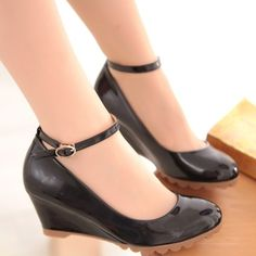 2013 Women's shoes spring and autumn women's high-heeled shoes wedge heel platform shoes buckle black orange apricot pink word $64.56