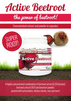 ACTIVE BEETROOT CAPSULES: 2650mg of beetroot goodness. This superfood supplement is packed with antioxidants, vitamins, minerals and phyto-nutrients...
