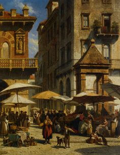 Piazza Delle Erbe Verona by Jacques Carabain Italy History, Cityscape Art, Verona Italy, Renaissance Paintings, Dutch Artists, City Art, Art Google, Painting Inspiration, Impressionism