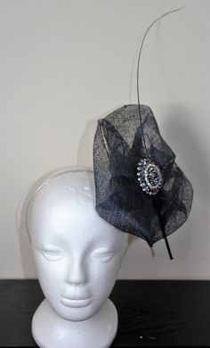 Navy fascinator with stripped quill, wedding fascinator, fascinator with crystals, derby fascinator, navy hairband, crystal hairband