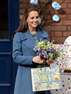 Pregnant Kate Middleton Has a Rosy Glow During Her Latest Royal Outing: Pregnant Kate Middleton was all smiles in a blue Max Mara coat during a visit to the Emma Bridgewater pottery factory in Staffordshire, England, on Wednesday.