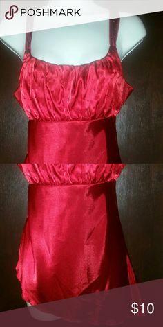 Glamorous red satin top Bombshell! Beading on top, ties in back, asymmetrical bottom. Self Esteem Tops Tank Tops