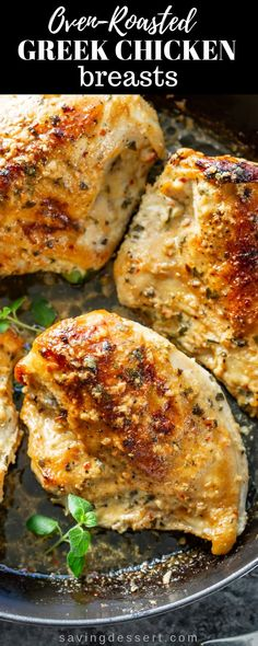 Oven Roasted Greek Chicken Breasts – Enjoy these Mediterranean inspired meaty chicken pieces marinated in an herb and garlic yogurt sauce then slow roasted to juicy perfection! - Oven Roasted Greek Chicken Breasts - Saving Room for Dessert Chicken Thights Recipes, Chicken Parmesan Recipes, Best Chicken Recipes, Chicken Salad Recipes, Chicken Pieces Recipes, Recipe Chicken, Baked Chicken Pieces, Marinated Chicken Recipes, Greek Chicken Breast