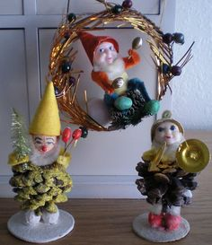Lot 3 Vintage Pine Cone Elf Gnome Chenille Tinsel Spun Cotton Mercury Glass | eBay