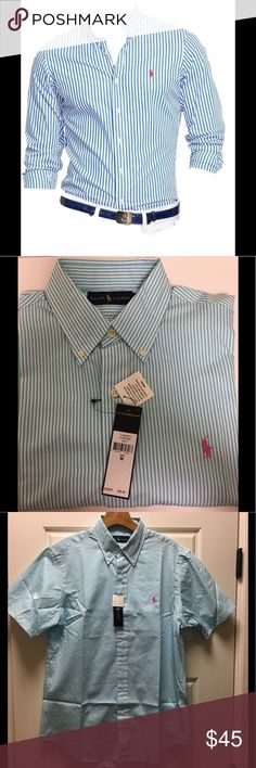 Men's Polo Ralph Lauren Classic Stripped Shirt Men's Polo Ralph Lauren Classic Button Down Stripped Shirt. 100% Cotton. The color is an aqua marine with pink pony logo. Ralph Lauren Shirts Casual Button Down Shirts