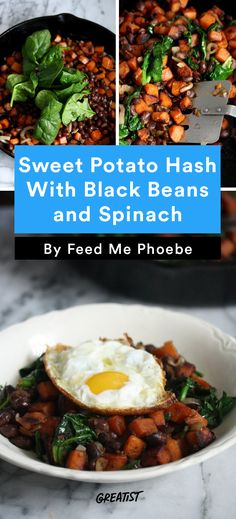 3. Sweet Potato Hash With Black Beans and Spinach #healthy #sweetpotato #hash #recipes http://greatist.com/eat/sweet-potato-hash-recipes-for-breakfast-or-dinner