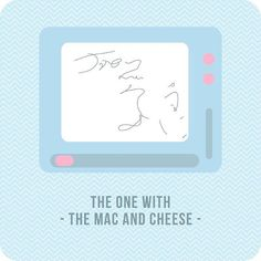 """FRIENDS S06E20 • B • the one with the Mac and Cheese • in this episode, the Magna Doodle board has its own important role in the plot development: here Chandler is writing a message for Joey, but he's interrupted by Monica and the only thing he leaves is """"Joey"""" and a big scribble"""