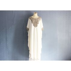 Floral Embroidery Kaftan Dress, Day and Night Dress, Summer Party... ($48) ❤ liked on Polyvore featuring dresses, white maxi dress, white chiffon dress, summer maxi dresses, summer cocktail dresses and cocktail dresses