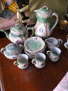 X RARE Moriage Decor Nippon Coffee and Tea Set Handpainted 15 Pieces | eBay