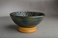 Shaving Bowl Made To Order Greenish Black by symmetricalpottery