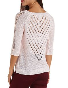 Cable & Pointelle Open Knit High-Low Sweater: Charlotte Russe