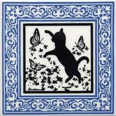 CAT TILE - CAT WALL PLAQUE - CAT TRIVETS WITH BLUE VICTORIAN BORDER: CA-8B by Besheer Art Tile, Bedford, N.H. U.S.A.: Office Products